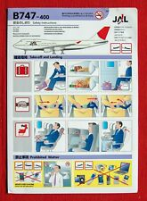 Safety Card-Safety Instructions-Japan Airlines JAL B747-400, RARE!!! - 04