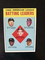 """1963 TOPPS #2 MICKEY MANTLE """"AL BATTING LEADERS""""— HOT CARD🔥*** (wph)"""