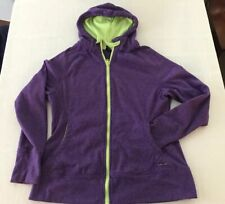 HIND WOMENS LARGE PURPLE FULL ZIP HOODIE SWEATSHIRT JACKET TS9