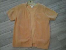 Cherokee Women Solid Lt Orange Short Sleeve 100% Cotton Knit Twin Set     Size L