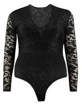 Ladies Long Sleeve Full Floral Lace Plus women Bodysuit Leotard Top size 16-24