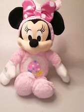 """New listing Disney Minnie Mouse Easter Bunny Egg Flower Pink Satin Dot 18"""" Bow Plush Toy"""