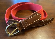 Vintage Brooks Brothers Men's Cotton Web & Leather Red Belt Sz 36 Made In USA