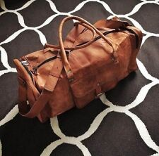 Men's Leather Duffle Travel Gym Luggage Genuine men overnight vintage duffle bag
