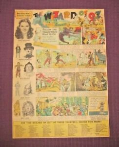 "RARE 1939 MGM'S ""THE WIZARD OF OZ"" MOVIE FULL PAGE COLORED SUNDAY COMIC STRIP AD"