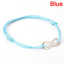 Antique Silver Infinity Colored Cotton Waxed Cord Friendship Love Bracelet 2018 Navy Blue