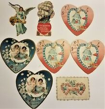 Lot of 8 Antique-Vintage Valentine's Day Cards (1) Angel (1) Ship (5) Heart (1)