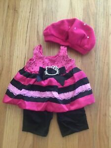Great Hello Kitty Pink/Black Build A Bear 3 Piece Outfit