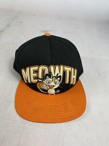 Meowth Pokemon Snapback Cap Orange Black OSFA One Size