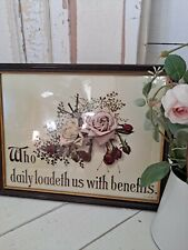 More details for vintage large old roses psalm picture religious framed ready to hang shabby chic