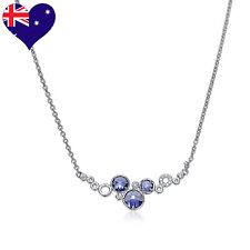 Fashionable Tanzanite Blue Purple Zirconia Rhodium Plated Necklace-Wedding-Gift