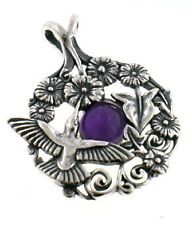 Sterling Silver Hummingbird Flowers on AMETHYST Pendant