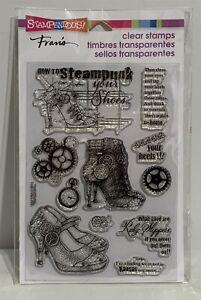 Stampendous STEAMPUNK SHOES Wizard of OZ Mixed Media Collage Rubber Stamps Rare