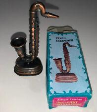 Antique Die-Cast Miniature Saxophone Pencil Sharpener - New