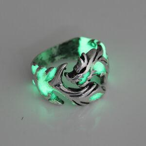 Unique Cool Men Boys Luminous Dragon Ring Vintage Jewelry Adjustable Rings