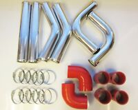 """63mm 2.5"""" Universal Intercooler Pipework Kit FMIC RED HOSES, DIY Custom Pipe Kit"""