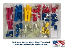 80 Vinyl Insulated 8 6 4 Awg Gauge Ring Terminal Butt Connector Assortment Kit