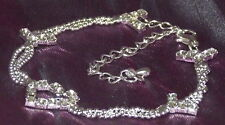 New 925 Sterling Silver Filled Zircon 3 Chain Heart Anklet Bridal Wedding Beach
