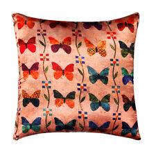 Beige Butterfly Digital Print Silk Satin Plush Cushion Cover Sofa Bed 16 x 16