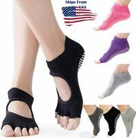 Women's Bella Grip Cotton Non-Slip Toeless for Ballet Yoga Pilates Barre Socks
