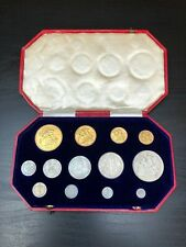 More details for 1902 edward vii silver matt proof 13 coin set - gold £5 to maundy 1d with box