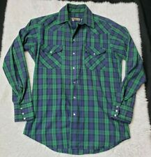 Vintage Panhandle Slim Men's Pearl Snap Shirt Plaid Long Sleeve Blue Green