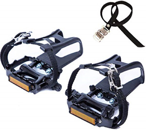 NEWSTY Bike Pedals with Clips and Straps for Outdoor Cycling and Indoor Bike