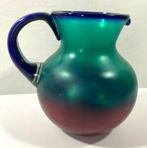 """Hand Blown Glass Pitcher Jewel Tones Red Green Blue  9.5"""" Tall x 8"""" Dia. x 10"""""""