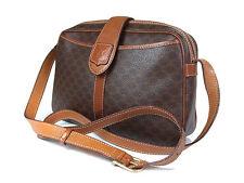 Auth CELINE MACADAM PVC Canvas Leather Brown Cross-Body Shoulder Bag CS14543L