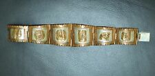 SUPER VINTAGE TAXCO MIXED METAL BRACELET WITH WARRIOR HEADS PLUS  925 SILVER