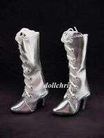 Shoes Tall Boots for Ellowyne Wilde Doll Metallic Silver Lace-Up Custom Size