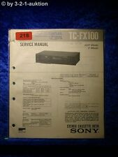 Sony Service Manual TC FX100 Cassette Deck (#0218)