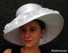 NEW Women's Kentucky Derby Hat White Satin Ribbon Flowers Rhinestones Wide Brim