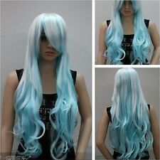 Cos white blue mixed long wavy cosplay full wig + wig cap H98