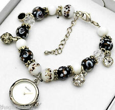 Ladies Henley Sparkly Crystal Charm Bracelet Watch Black White Beads Gift Idea