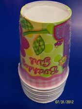 Hugs & Stitches Girl Pink First 1st Birthday Party 9 oz. Paper Cups