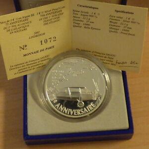 France 1.5 euros 2002 Atlantic Flight Lindberg PROOF silver 90% 22 g+CoA+Box