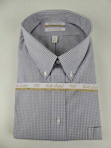 Roundtree & Yorke Gold Label EZ Non Iron  NWT Gingham Plaid Cotton Dress Shirt