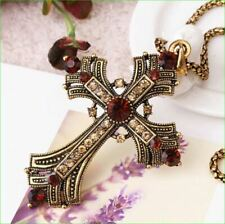 1.30Ct Round Cut Red Ruby Cross Shape Pendant 14K Yellow Gold Finish Free Chain