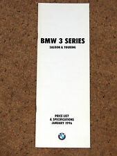 1996 BMW 3 SERIES SALOON & TOURING PRICE LIST & SPECIFICATIONS inc M3 EVOLUTION