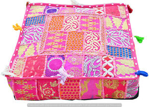 """18"""" Large Indian Vintage Patchwork Ottoman Footstool Cushion Cover Square Pouf"""