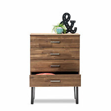 Selena Scandinavian Retro Solid Acacia Oak Timber Wood 4 Drawer Tallboy Chest