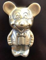 "Disney Mickey Mouse In Suit Brass Figurine Statue Vintage Rare Piece 5"" Tall"