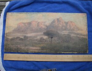 Good SOUTH AFRICAN Painting on Board-E.C. CHURCHILL MACE-Table Mountain-NR