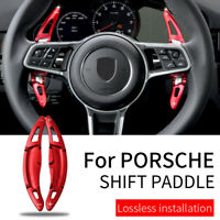 Red Steering Wheel Shift paddle Shifter Extension For Porsche Cayenne Macan 911