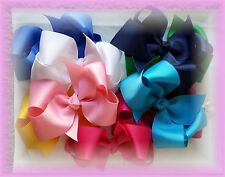 10 Hair bows 4 Inch Custom Boutique Lot Solid Colors Choose Mix & Match