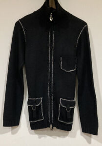 emporio armani Size 42 100% Wool Black Knitted Jacket.