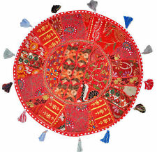 "XL 32"" Round Floor Pillow Cushion in Red gypsy  Bohemian Patchwork floor cushion"