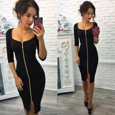 UK Womens Deep V Neck Bodycon Front ZIPPER Cocktail Ladies Party Midi Dress Black 10