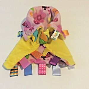 Security Blanket Infant Multicolored Tags Baby Soft Lovey Butterflies Flowers
